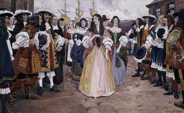 L'arrivée des jeunes filles françaises à Québec, 1667, Charles William Jefferys